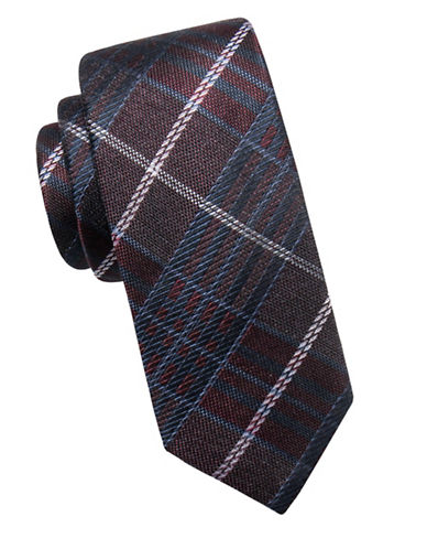 Vince Camuto Plaid Silk-Blend Tie-RED-One Size
