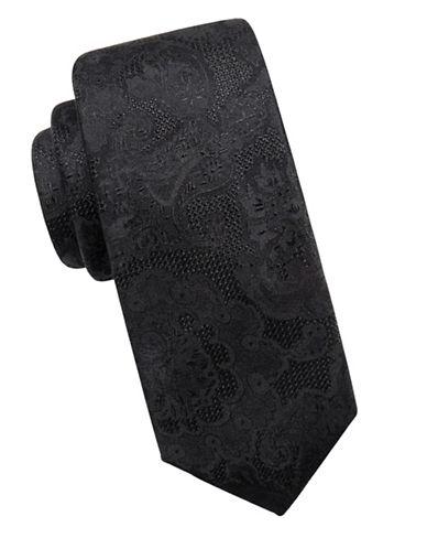 Vince Camuto Jacquard Silk Tie-BLACK-One Size