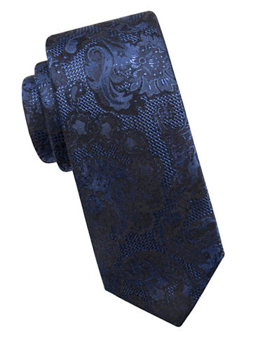 Vince Camuto Jacquard Silk Tie-NAVY-One Size