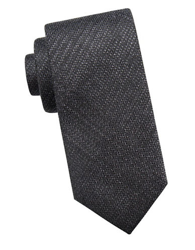 Black Brown 1826 Embroidered Silk Tie-BLACK-One Size