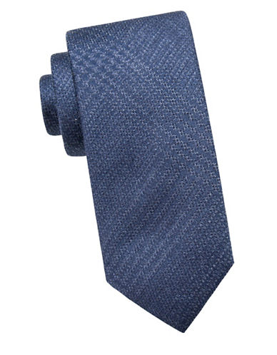 Black Brown 1826 Embroidered Silk Tie-NAVY-One Size