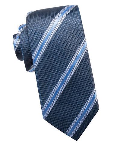 Black Brown 1826 Stripe Silk Tie-BLUE-One Size