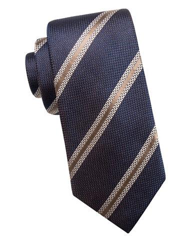 Black Brown 1826 Stripe Silk Tie-BLUE TAUPE-One Size