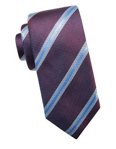Black Brown 1826 Stripe Silk Tie-BERRY-One Size