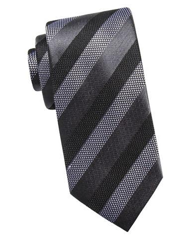 Black Brown 1826 Three-Tone Silk Tie-BLACK-One Size
