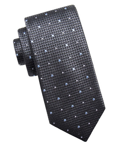 Black Brown 1826 Mini Dot Silk Tie-CHARCOAL-One Size