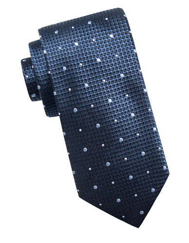 Black Brown 1826 Mini Dot Silk Tie-BLUE-One Size