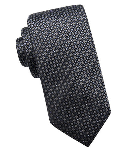 Black Brown 1826 Neat Silk Tie-BLACK-One Size