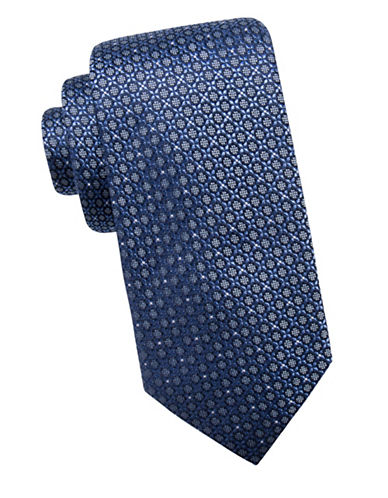 Black Brown 1826 Neat Silk Tie-BLUE-One Size