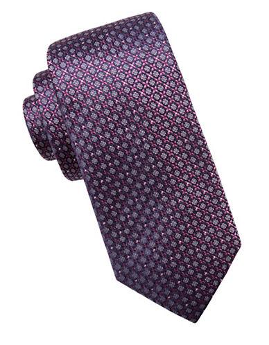 Black Brown 1826 Neat Silk Tie-PURPLE-One Size