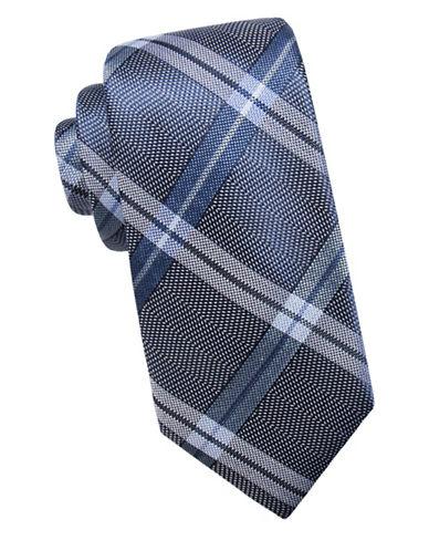 Black Brown 1826 Tartan Silk Tie-BLUE-One Size