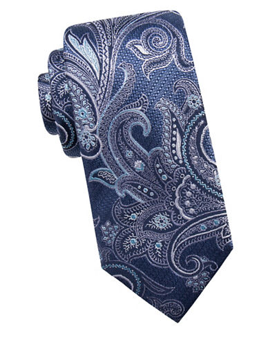 Black Brown 1826 Ornate Silk Tie-BLUE-One Size
