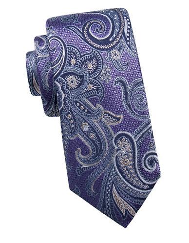 Black Brown 1826 Ornate Silk Tie-PURPLE-One Size