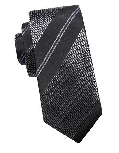 Black Brown 1826 Chevron Silk Tie-BLACK-One Size
