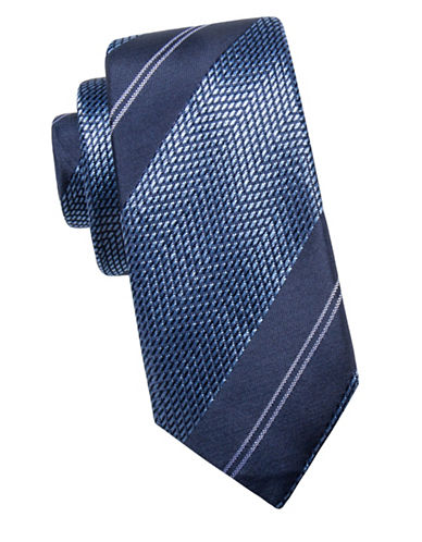 Black Brown 1826 Chevron Silk Tie-NAVY/BLUE-One Size