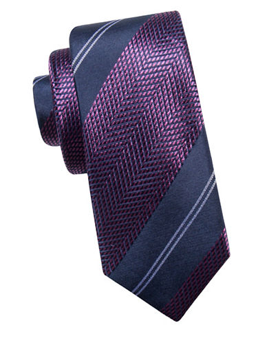 Black Brown 1826 Chevron Silk Tie-NAVY/BERRY-One Size