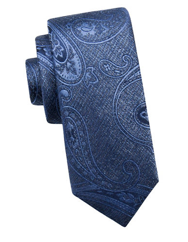 Black Brown 1826 Paisley Silk Tie-BLUE-One Size
