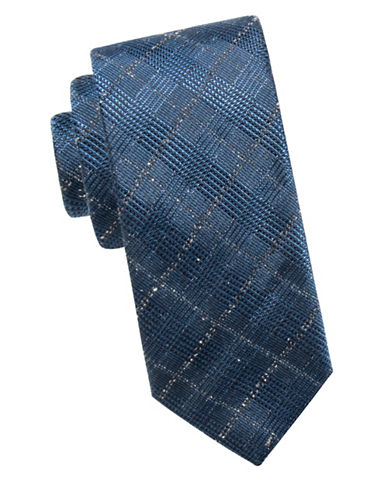 Ben Sherman Embroidered Silk Tie-BLUE-One Size