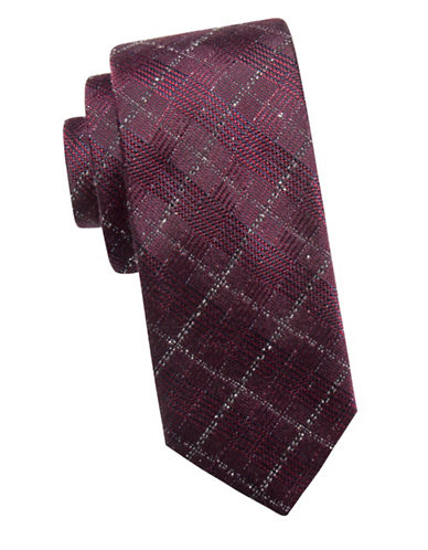 Ben Sherman Embroidered Silk Tie-RED-One Size