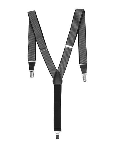 Black Brown 1826 Tonal Stripe Stretch Suspenders-WHITE-One Size