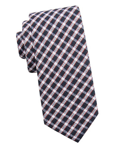 Ben Sherman Check Silk Tie-NAVY-One Size