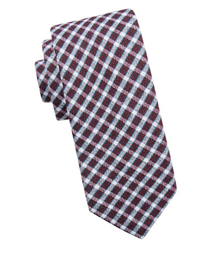 Ben Sherman Check Silk Tie-RED-One Size