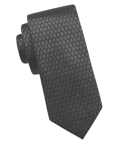 Ben Sherman Honeycomb Silk Tie-BLACK-One Size