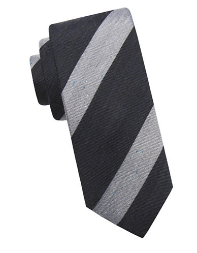 Ben Sherman Stripe Silk Tie-BLACK-One Size