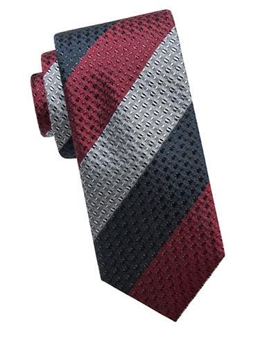Ben Sherman Stripe Embossed Silk Tie-RED-One Size