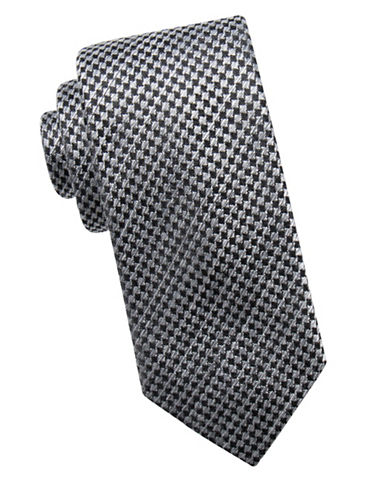 Black Brown 1826 Houndstooth Silk Tie-BLACK-One Size