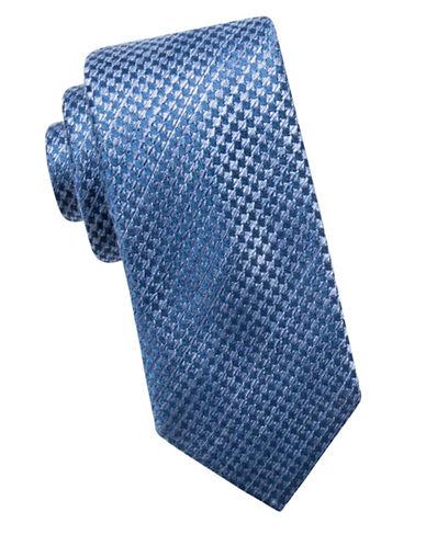 Black Brown 1826 Houndstooth Silk Tie-NAVY-One Size