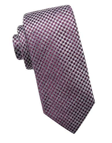 Black Brown 1826 Houndstooth Silk Tie-PURPLE-One Size