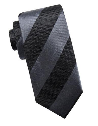 Black Brown 1826 Stripe Silk Tie-BLACK-One Size
