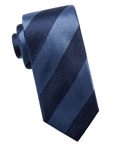 Black Brown 1826 Stripe Silk Tie-NAVY-One Size