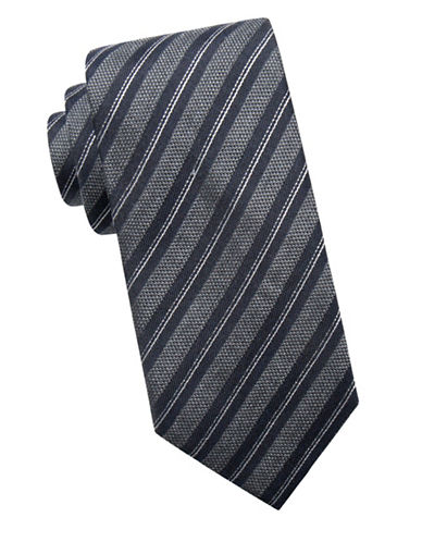 Black Brown 1826 Multi-Stripe Silk Tie-BLACK-One Size