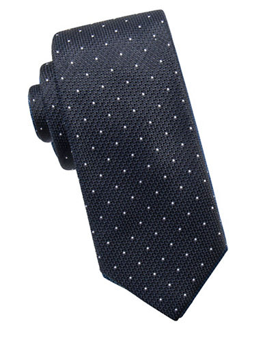 Black Brown 1826 Dot Silk Tie-BLACK-One Size