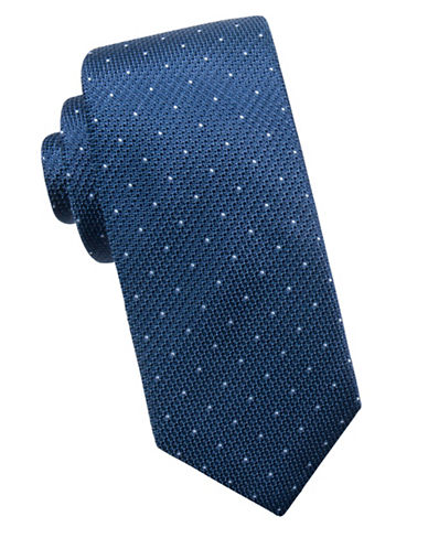 Black Brown 1826 Dot Silk Tie-BLUE-One Size