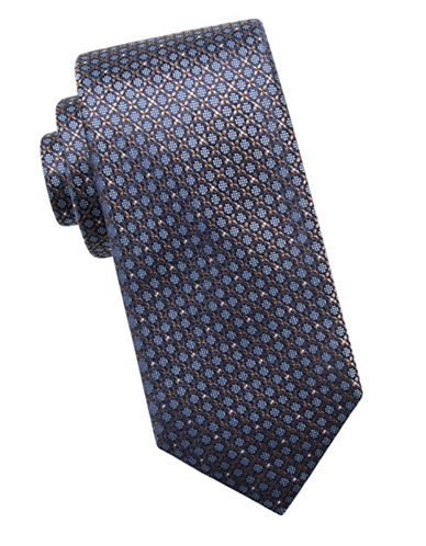 Black Brown 1826 Neat Silk Tie-NAVY TAUPE-One Size