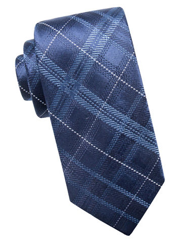 Black Brown 1826 Plaid Silk Tie-BLUE-One Size
