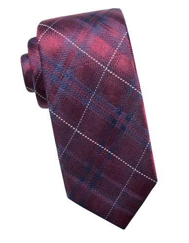 Black Brown 1826 Plaid Silk Tie-RED-One Size