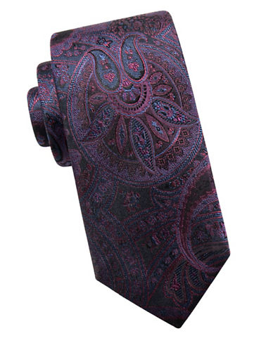 Black Brown 1826 Paisley Silk Tie-RED-One Size