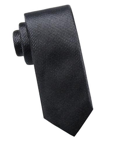 Black Brown 1826 Slim Silk Tie-BLACK-One Size