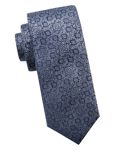 Black Brown 1826 Abstract Floral Silk Slim Tie-NAVY-One Size