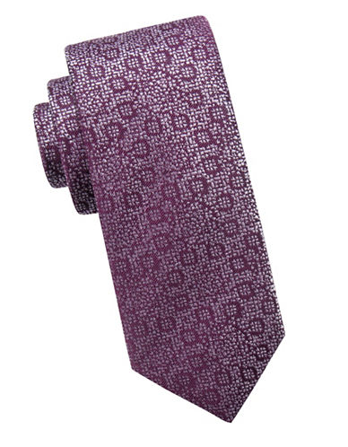 Black Brown 1826 Abstract Floral Silk Slim Tie-PURPLE-One Size