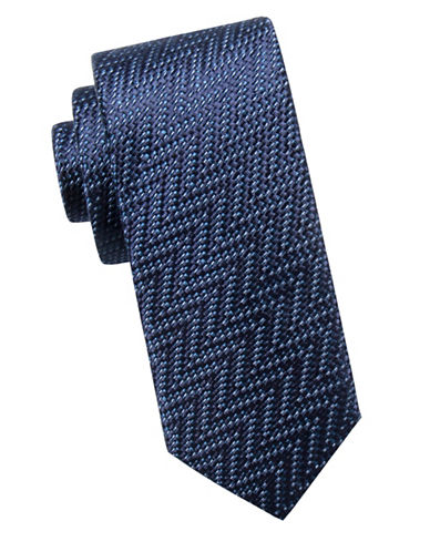 Black Brown 1826 Zigzag Slim Silk Tie-NAVY-One Size