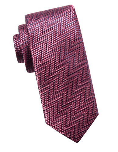 Black Brown 1826 Zigzag Slim Silk Tie-PURPLE-One Size