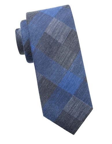 Black Brown 1826 Check Slim Silk Tie-NAVY-One Size
