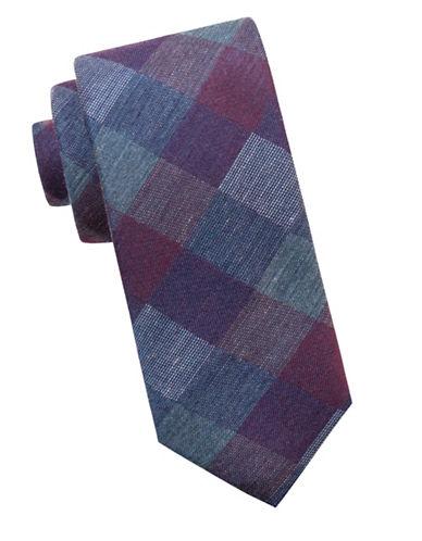 Black Brown 1826 Check Slim Silk Tie-PURPLE-One Size