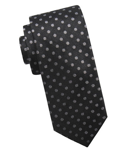 Ben Sherman Printed Silk Tie-BLACK-One Size