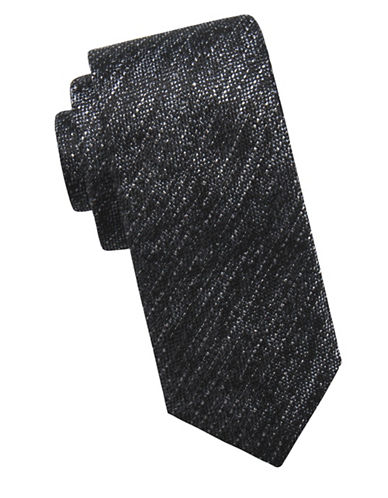 Ben Sherman Embossed Silk Tie-BLACK-One Size